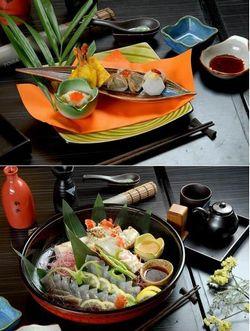 横浜港:前菜と帝王蟹刺身