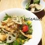 ■今週限定のメニュー■水菜とレンコンのじゃこピーサラダ、きのこと茄子のアンチョビ塩レモン