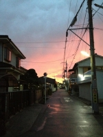 シトシト雨の合間に奇麗な夕焼け